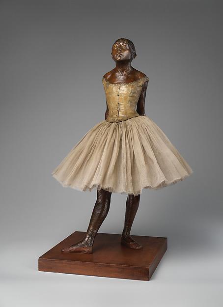 The Little Fourteen-Year-Old Dancer, Edgar Degas (French, Paris 1834–1917 Paris), Partially tinted bronze, cotton tarlatan, silk satin, and wood, French, Paris