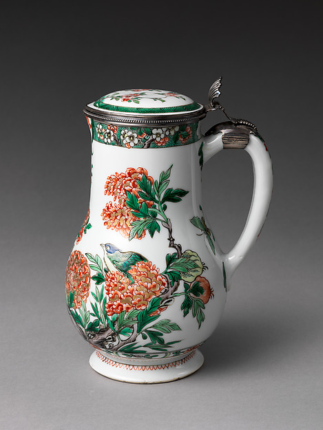 Jug, Mounts by Paul Le Riche (French, master 1686, active 1738), Hard-paste porcelain with colored enamels over a transparent glaze (Jingdezhen ware), silver mounts, Chinese, for French market