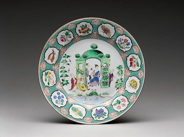 Plate with figures in arbor, Design attributed to Cornelis Pronk (Dutch, Amsterdam 1691–1759 Amsterdam), Hard-paste porcelain painted with colored enamels over transparent glaze (Jingdezhen ware), Chinese, for Dutch market