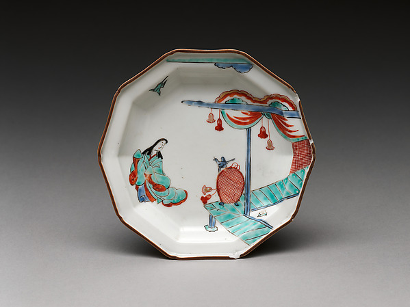 Plate with Japanese court woman and birds, Hard-paste porcelain painted with colored enamels over transparent glaze (Hizen ware; Imari type), Japanese, for European market