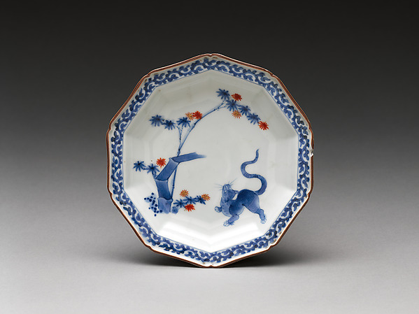 Dish with tiger and bamboo, Hard-paste porcelain painted with cobalt blue under transparent glaze (Hizen ware; Kakiemon type), Japanese, for European market