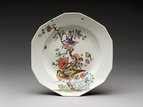 Dish with tree, flowers, and birds, Vienna, Hard-paste porcelain painted with colored enamels over transparent glaze, Austrian, Vienna