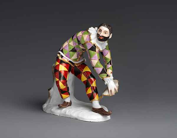 Bowing Harlequin, Meissen Manufactory (German, 1710–present), Hard-paste porcelain, German, Meissen