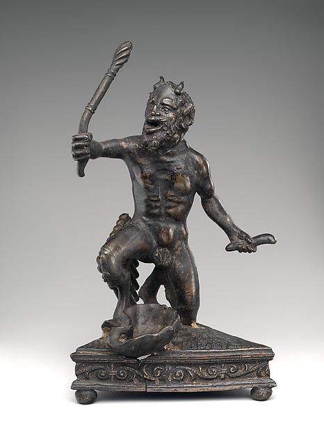 Kneeling Satyr, Manner of Andrea Briosco, called Riccio (Italian, Trent 1470–1532 Padua), Bronze, possibly Italian, Padua