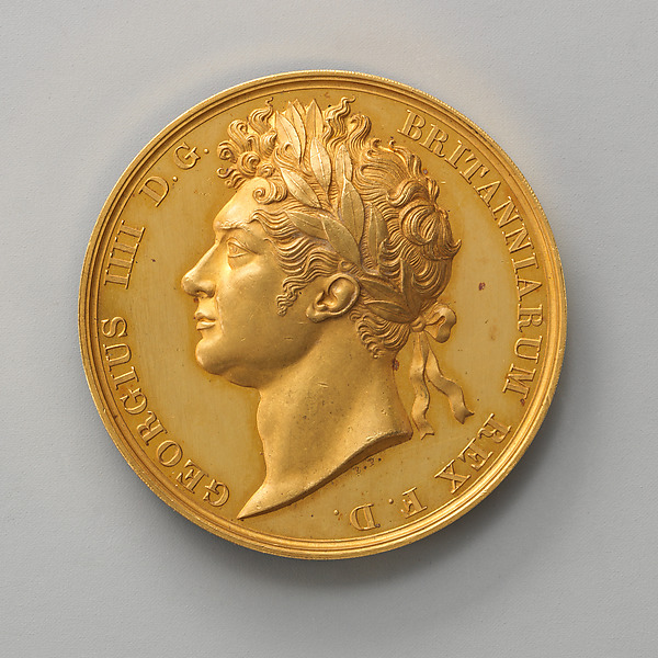 Unfinished Pattern for the Official Coronation Medal of George IV, Medalist: Benedetto Pistrucci (Italian, 1783–1855, active England), Gold, British