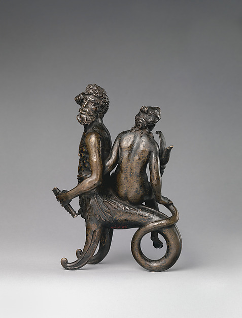 Triton and Nereid, Possibly workshop of Andrea Briosco, called Riccio (Italian, Trent 1470–1532 Padua), Bronze, Italian, Padua