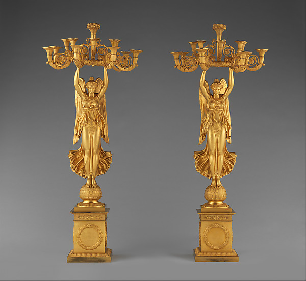 Pair of candelabra with Winged Victories, Pierre Philippe Thomire (French, Paris 1751–1843 Paris), Gilt bronze, French