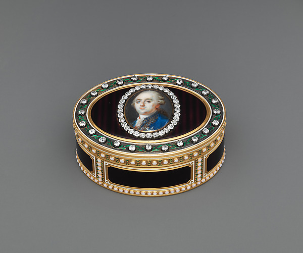 Snuffbox with portrait of Louis XVI (1754–1793), King of France, Joseph Étienne Blerzy (French, active 1750–1806), Gold, enamel, diamonds; ivory, glass, French, Paris