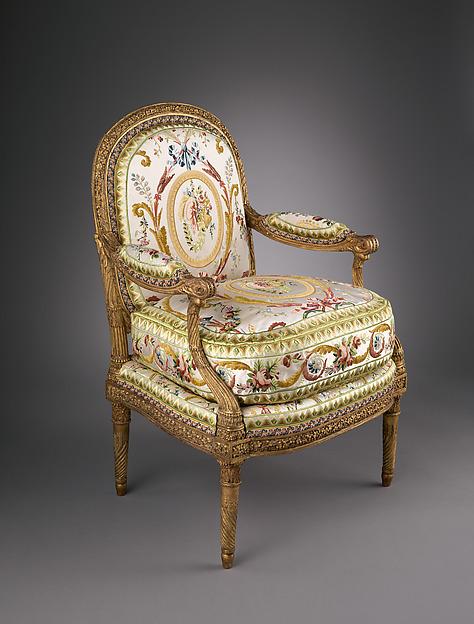 Armchair (fauteuil à la reine), Jacques Gondouin (1737–1818), Carved and gilded beech; modern silk lampas, French, Paris