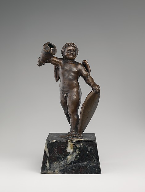 Cupid holding a candle socket, Bronze, traces of brown lacquer patina; marble base, Italian, Padua