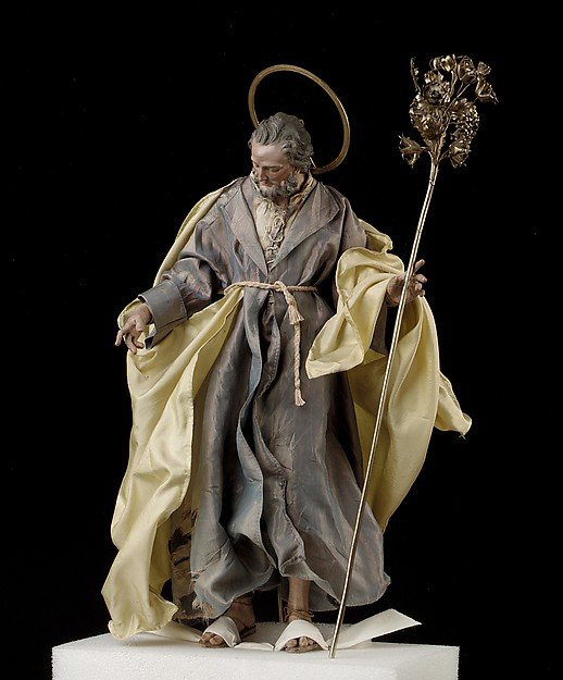 St. Joseph, Attributed to Salvatore di Franco (active 18th century), Polychromed terracotta head and wooden limbs; body of wire wrapped in tow; various fabrics; silver-gilt halo and staff, Italian, Naples