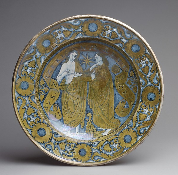 Dish with the Incredulity of St. Thomas, Maiolica (tin-glazed earthenware), lustered, Italian, Deruta