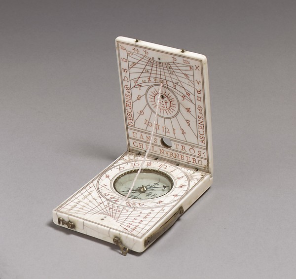 Portable diptych sundial, Hans Tröschel the Elder (German, 1549–1612), Ivory, brass, German, Nuremberg