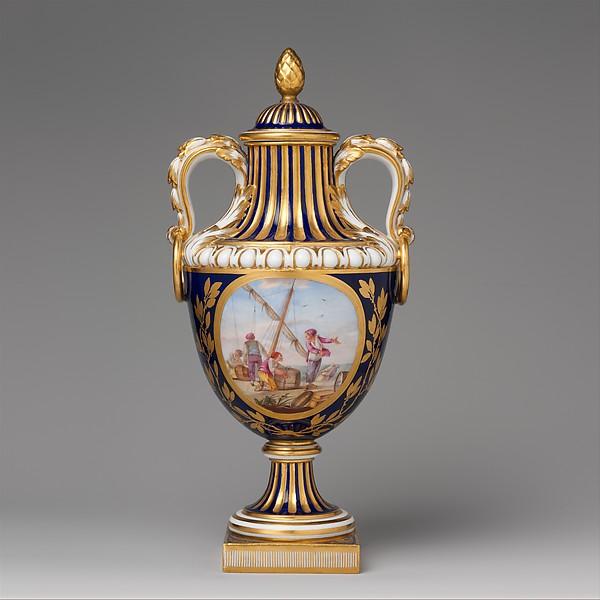 Vase with cover (vase de coté de Paris) (one of a pair), Sèvres Manufactory (French, 1740–present), Soft-paste porcelain, French, Sèvres