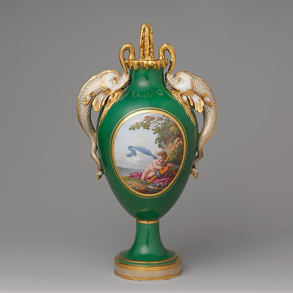 Vase with cover (vase à dauphins), Sèvres Manufactory (French, 1740–present), Soft-paste porcelain, French, Sèvres