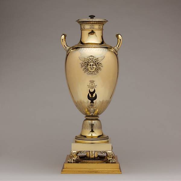 Hot water urn, Jean-Baptiste-Claude Odiot (French, 1763–1850), Silver, gilt bronze, French, Paris