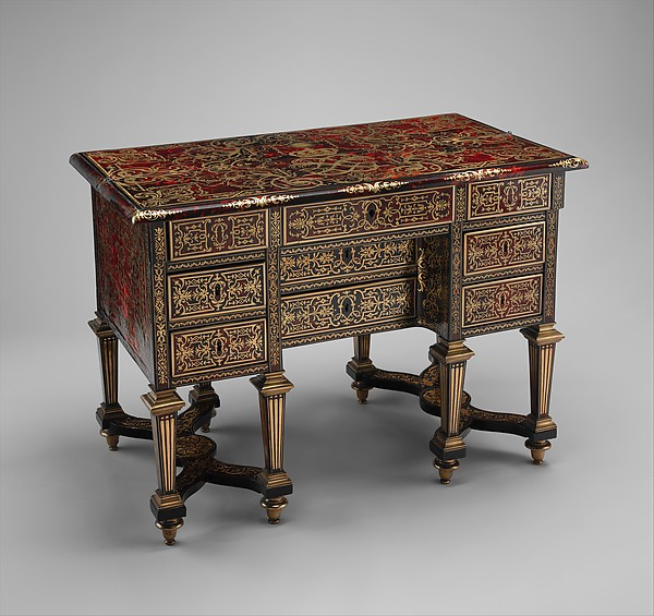 Small desk with folding top (bureau brisé), Marquetry by Alexandre-Jean Oppenordt (Dutch, 1639–1715, active France), Oak, pine, walnut veneered with ebony, rosewood, and marquetry of tortoiseshell and engraved brass; gilt bronze and steel, French, Paris