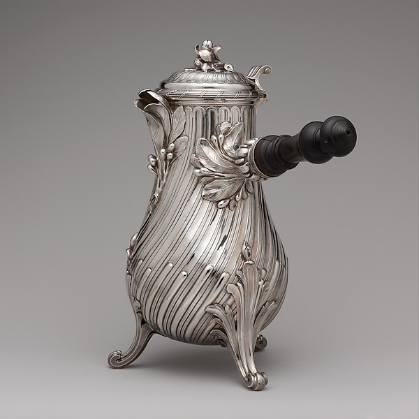 Coffeepot, François Thomas Germain (French, Paris 1726–1791 Paris, master 1748), Silver with ebony handle, French, Paris