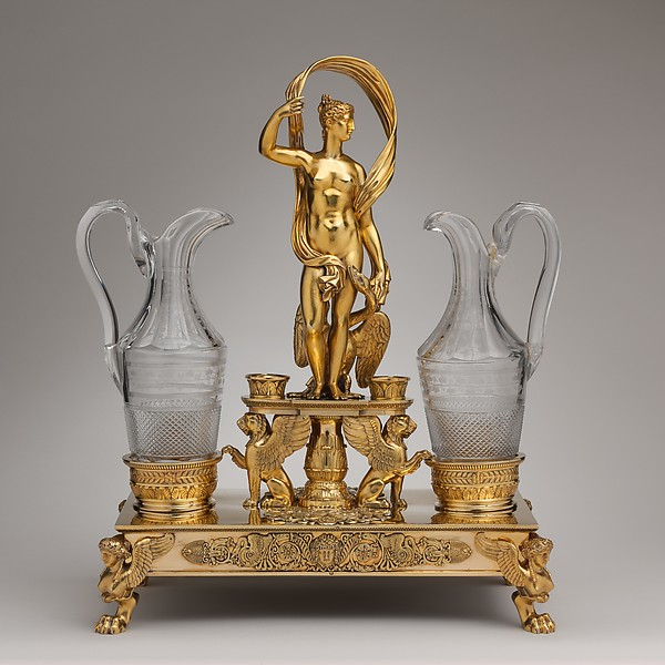 Cruet frame (one of a pair), Jean-Baptiste-Claude Odiot (French, 1763–1850), Silver gilt, glass, French, Paris