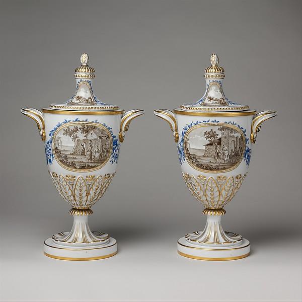 Vase with cover (one of a pair), Real Fabrica de Buen Retiro (Spanish), Soft-paste porcelain, Spanish, Madrid (Buen Retiro)