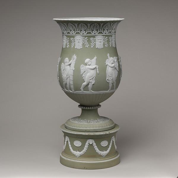 Vase and pedestal, Josiah Wedgwood and Sons (1759–present), Jasperware, British, Etruria, Staffordshire