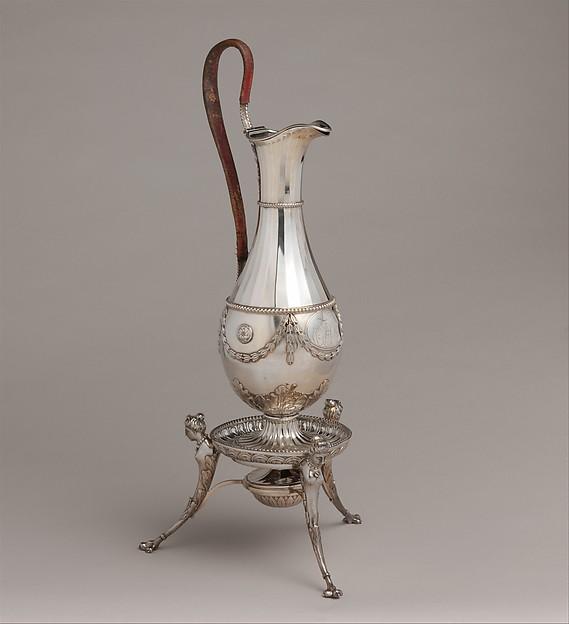 Hot water jug, James Wyatt (British, Weeford, Stafforshire 1746–1813 near Marlborough, Wiltshire), Silver, British, Birmingham