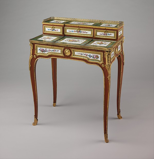 Small writing desk (bonheur-du-jour), Martin Carlin (French, near Freiburg im Breisgau ca. 1730–1785 Paris), Oak veneered with tulipwood, amaranth, and stained sycamore; mahogany; seventeen soft-paste porcelain plaques; gilt-bronze mounts; velvet (not original), French, Paris and Sèvres