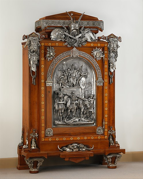 Cabinet, Designed by Jean Brandely (French, active 1855–67), Oak veneered with cedar, walnut, ebony and ivory; silvered-bronze mounts, French, Paris