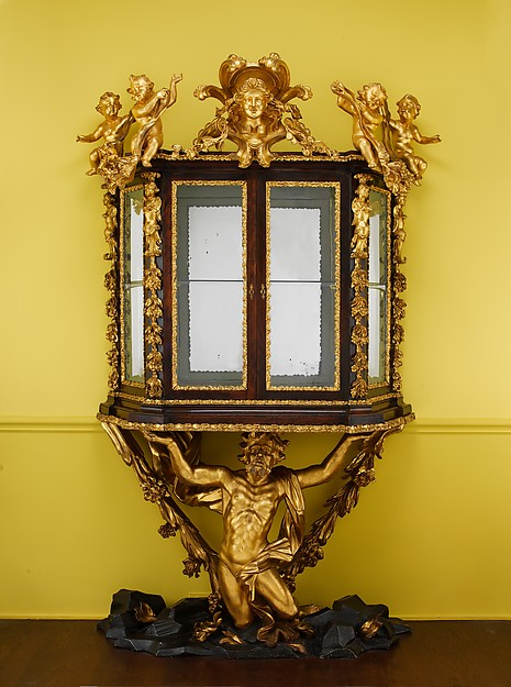 Showcase on stand (Scarabattola), Walnut; carved, painted, and gilded linden wood; mirror glass, Italian, Rome