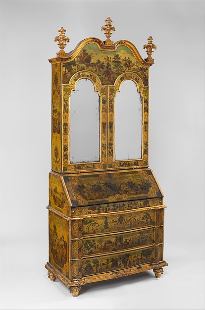 Desk (Secretary), Pine; carved, painted, gilded, and varnished linden wood decorated with colored decoupage prints; mirror glass; the inside of the fall front lined wiht silk not original to the secretary, Italian, Venice