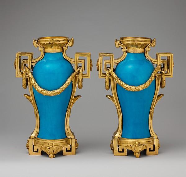 Vase (vase à monter) (one of a pair), Sèvres Manufactory (French, 1740–present), Soft-paste porcelain, gilt bronze, French, Sèvres