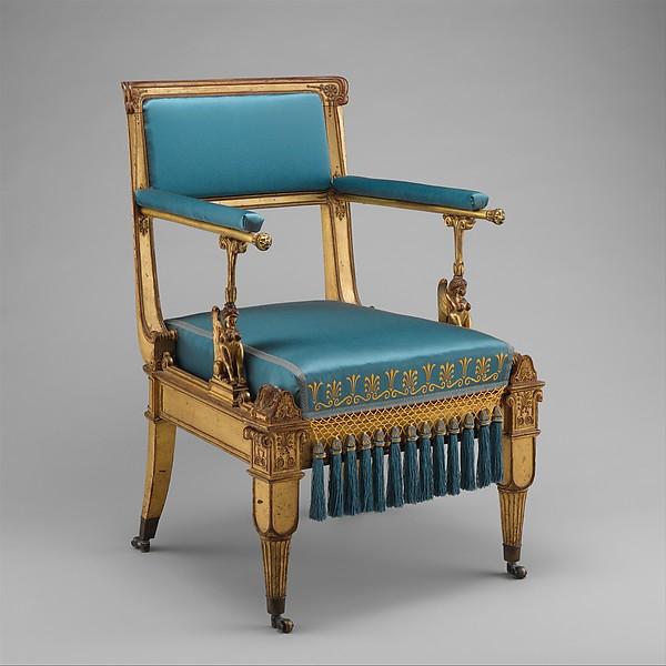 Armchair, Karl Friedrich Schinkel (German, Neuruppin 1781–1841 Berlin), Gilded mountain ash; brass mounts and casters; modern upholstery, German, Berlin