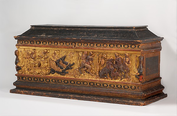 Marriage chest (cassone), Poplar wood; painted and gilded gesso, Italian, Florence or Lucca