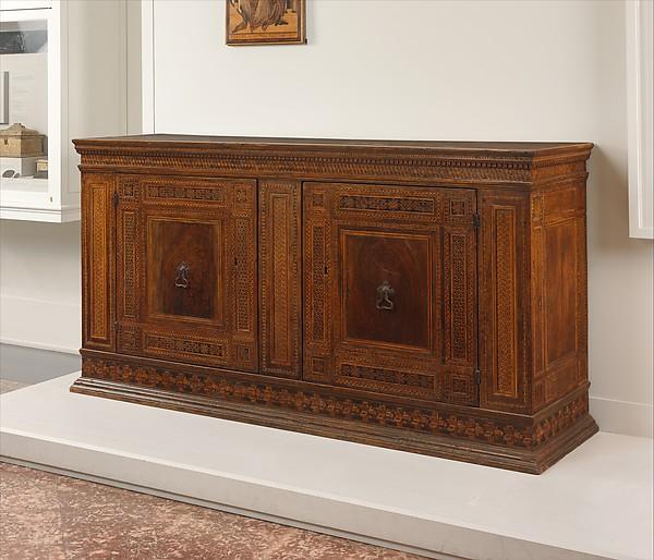 Sacristy Cabinet, Poplar Wood And Walnut Inlaid With Various Woods; Iron  Locks, Handles