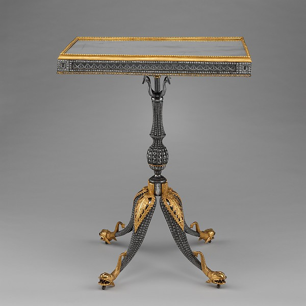 Center table, Imperial Armory, Tula (south of Moscow), Russia, Steel, silver, gilt copper, gilt brass, basswood; replaced mirror glass, Russian, Tula