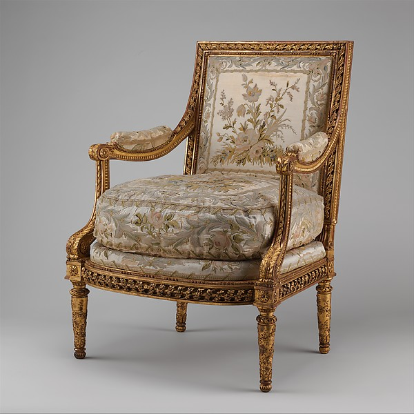 Armchair (Fauteuil à la reine) (one of a pair) (part of a set), Georges Jacob (French, Cheny 1739–1814 Paris), Carved and gilded walnut; embroidered silk satin, French, Paris