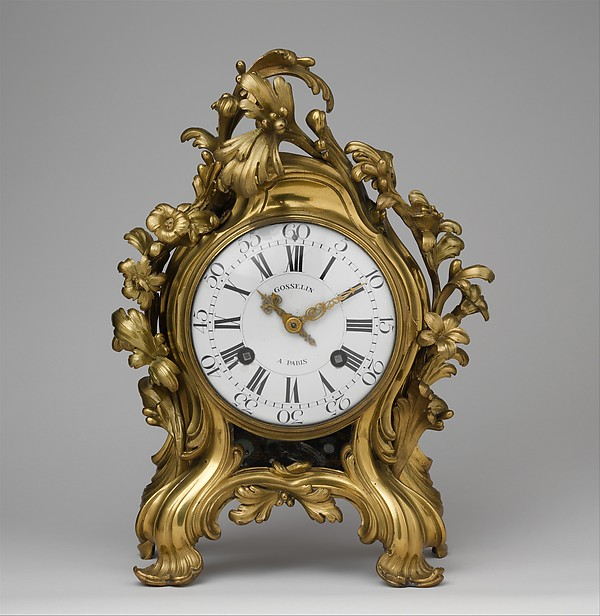 Clock (pendule à console), Clockmaker: probably Jean-Philippe Gosselin (French, recorded as master in Paris 1717, died 1766), Case: bronze, formerly gilded, silvered or lacquered; dial: white enamel, with black numerals; movement: brass and steel, French, Paris