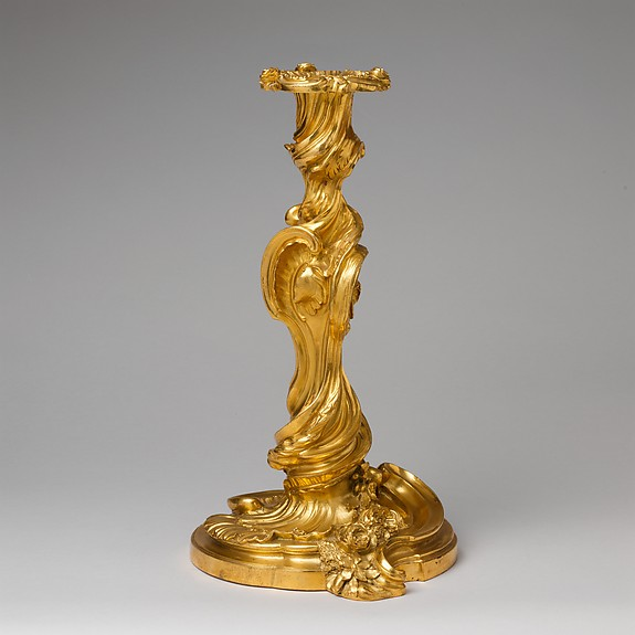 Pair of candlesticks (flambeaux or chandeliers), After designs by Juste Aurèle Meissonnier (French, Turin 1695–1750 Paris), Gilt bronze, French, Paris