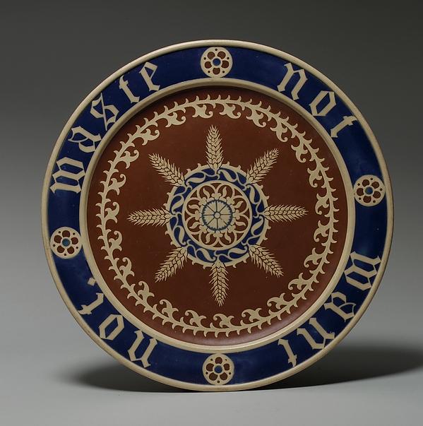 Bread plate, Augustus Welby Northmore Pugin (British, London 1812–1852 Ramsgate), Stoneware, British, Stoke-on-Trent, Staffordshire