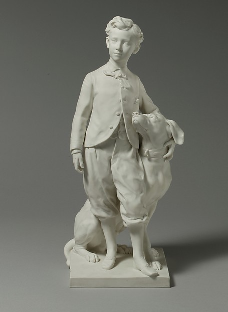 The Prince Imperial with his Dog Nero, Sèvres Manufactory (French, 1740–present), Hard-paste biscuit porcelain, French, Sèvres