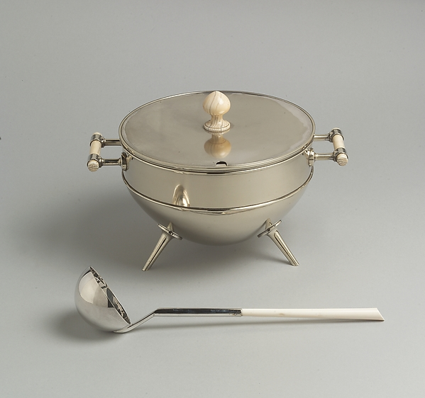 Tureen and ladle, Christopher Dresser (British, Glasgow, Scotland 1834–1904 Mulhouse), Electroplate (silver on yellow metal); ivory, British, London