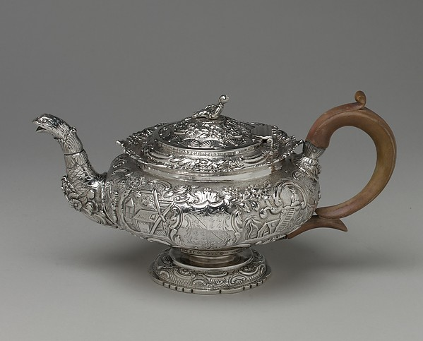 Teapot, J.E. Terry and Co., Silver, wood, British, London