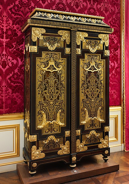 Cabinet, Attributed to André Charles Boulle (French, Paris 1642–1732 Paris), Oak veneered with Macassar and Gabon ebony, ebonized fruitwood, burl wood, and marquetry of tortoiseshell and brass; gilt bronze, French, Paris