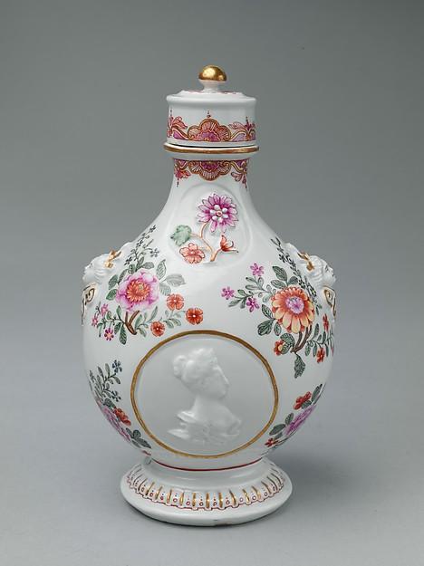 Pilgrim bottle with cover, Vienna, Hard-paste porcelain, Austrian, Vienna