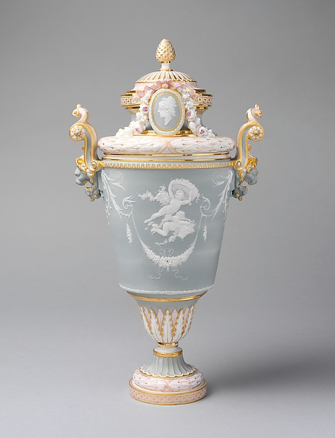 Vase with cover (vase parent), Modeled by Albert-Ernest Carrier-Belleuse (French, Anizy-le-Château 1824–1887 Sèvres), Hard-paste porcelain, French, Sèvres
