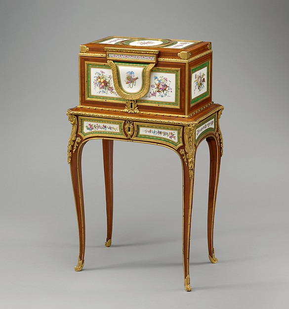 Jewel coffer on stand (petit coffre à bijoux), Coffer attributed to Martin Carlin (French, near Freiburg im Breisgau ca. 1730–1785 Paris), Oak veneered with tulipwood, amaranth, stained sycamore, holly, and ebonized holly; thirteen soft-paste porcelain plaques; gilt-bronze mounts; velvet (not original), French, Paris and Sèvres
