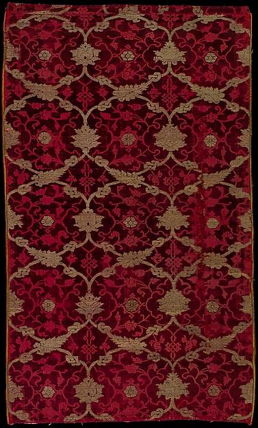 Panel of velvet, Silk and metal thread, Italian