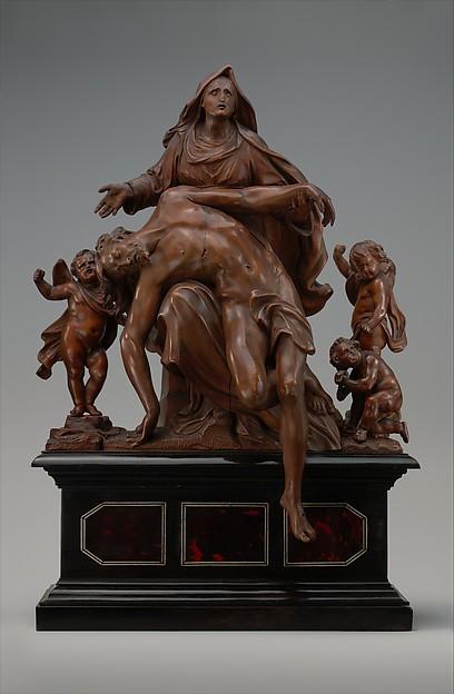Pietà with Sorrowing Angels, Workshop of Mattheus van Beveren (Flemish, Antwerp ca. 1630–1690 Brussels), Boxwood; base: wood, ebony, tortoiseshell and ivory or bone, Flemish