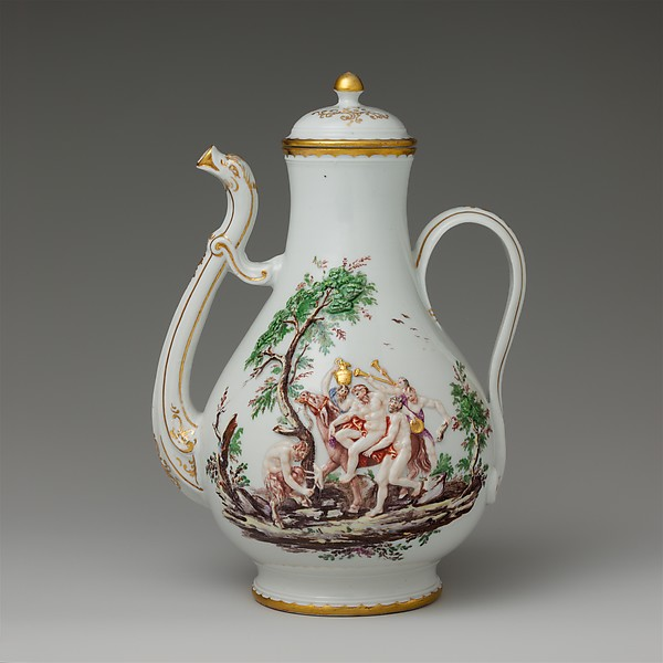 Coffeepot (part of a service), Doccia Porcelain Manufactory (Italian, 1737–1896), Hard-paste porcelain, Italian, Florence