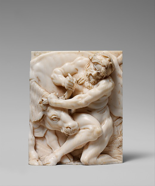 Hercules and Achelous (in the form of a bull), Attributed to the Master of the Martyrdom of St. Sebastian (Austrian), Ivory, Austrian